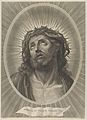 Head of Christ looking up with crown of thorns, in an oval frame, after Reni MET DP841309.jpg