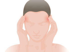 Vector drawing of a woman with her hands pressed against her temples as if in pain.
