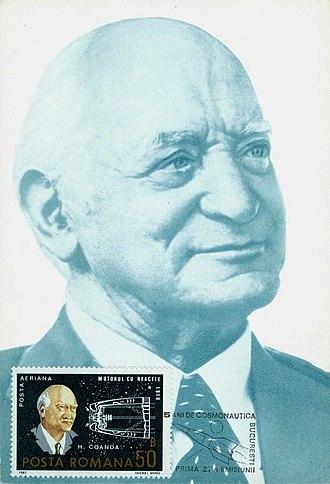 Henri Coandă - A 1982 stamp and postcard of Romania dedicated to Coandă