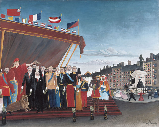 The Representatives of Foreign Powers Coming to Greet the Republic as a Sign of Peace, 1907 painting by Henri Rousseau Henri Rousseau - The Representatives of Foreign Powers Coming to Greet the Republic as a Sign of Peace.jpg