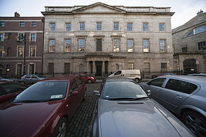 Henrietta Street, Dublin - King's Inns Law Library built 1824-1832 on the site of the Primate's house facing 9 and 10 Henrietta Street showing Pearce's No. 11 on the left of the picture