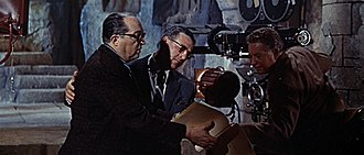 Samuel G. Engel - Engel (middle) with director Henry Koster (left) and cameraman Arthur Arling (right) on the set of his production The Story of Ruth (1960).