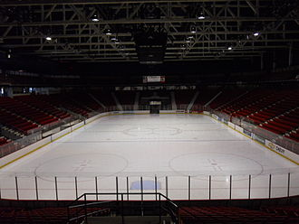 Sports in the United States - The Herb Brooks Arena in the Olympic Center at Lake Placid, New York hosted the Miracle on Ice match