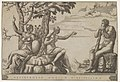 Hercules at the cross-roads, he is seated at the right, to the left are female personifications of Virtue and Vice MET DP832651.jpg