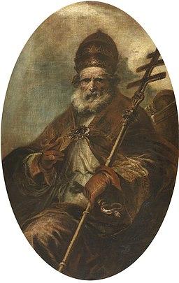Herrera mozo San León magno Lienzo. Óvalo. 164 x 105 cm. Museo del Prado