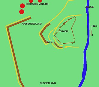 Heuneburg - Basic plan of the Heuneburg and its surroundings. Walls/banks marked brown, ditches yellow. The course of the defences is partly hypothetical.