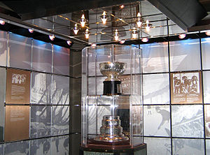 Original Stanley Cup in the bank vault at the Hockey Hall of Fame in Toronto, Ontario