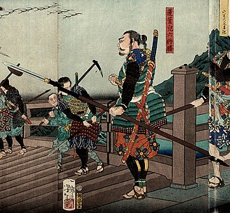 Ōdachi - Edo period wood block print showing an ōdachi being worn on the back of a samurai.