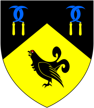 William Hockmore - Arms of Hockmore: Per chevron sable and or, in chief two pairs of reaping hooks endorsed and entwined blades azure handles of the second in base a moorcock of the first combed and wattled gules