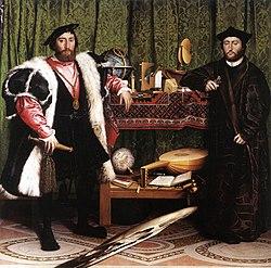 Ambasadorowie (Hans Holbein)Patrzą przed siebie śmiało, pewni swoich racji,Wszak dyplomacja włada wszystkim dziś – co żyje,A oni – kwiat szesnastowiecznej dyplomacji!