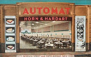 Nickel (United States coin) - Postcard for Horn & Hardart restaurants, 1930s.