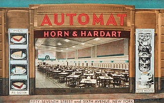 Horn & Hardart - Automat at 1165 Sixth Avenue showing areas for beverages and pies at right of dining area