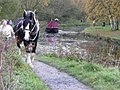 Horse-drawn canal boat approaching the swingbridge from the south. - geograph.org.uk - 1564278.jpg