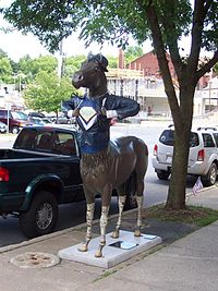 Superhorse, one of 34 fiberglass horses on display around downtown Saratoga Springs in the 2007 Horses, Saratoga Springs street display.