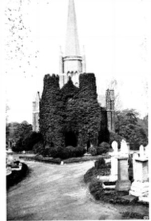 Abney Park Chapel - Hosking's Imposing chapel at Abney Park: notable as the first nondenominational Cemetery Chapel in Europe. Unfortunately, ivy obscured the ornate south facade of the Abney Park Chapel by the date of this photograph (Edwardian times) and repairs to the steeple led to a loss of its banding and some other simplification