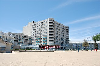 Hotel Breakers - Image: Hotel Breakers Tower from the beach (3545637794)