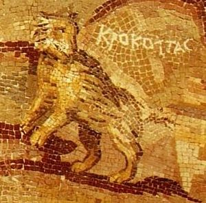 Crocotta - A mosaic depicting a crocotta (Greek: Κροκόττας), which in this case closely resembles a striped hyena. The mosaic in Palestrina depicts the river Nile and its fauna