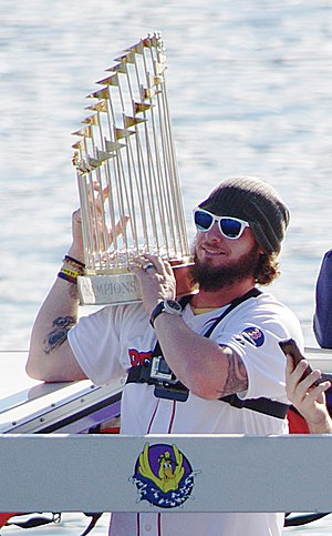 2013 World Series - Jarrod Saltalamacchia lifts the Commissioner's Trophy during the victory parade