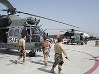 Spanish soldiers at an airbase in Afghanistan.