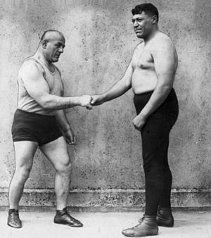 Stanislaus Zbyszko - Ike Robin (right) and Stanislaus Zbyszko, still billed a world champion, shake hands before their 1926 bout in Auckland, New Zealand.