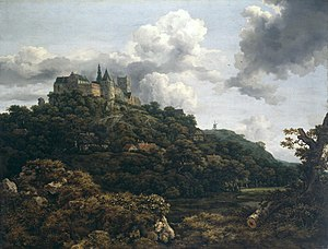 Baroque painting - Jacob Isaakszoon van Ruisdael, Bentheim Castle (1653).