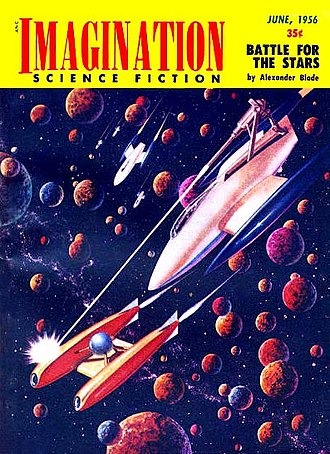 Space opera - Cover of sci-fi magazine, Imagination, June 1956