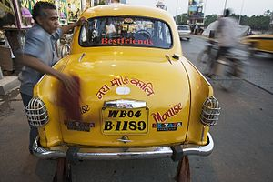 Vehicle registration plates of India - Number plates on the back of a taxi in Kolkata.