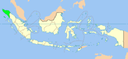 Cairt indicatin the location o Aceh in Indonesie