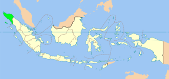 Islamic criminal law in Aceh - Location of Aceh (green) in Indonesia (beige).
