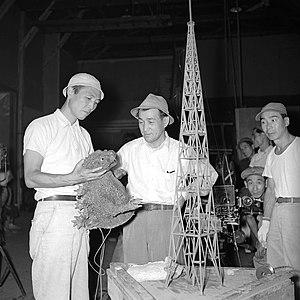 Ishirō Honda - Honda (left) working on the set of the original Godzilla