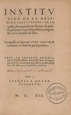 Institutes of the Christian Religion - Title page of the first French edition (1541)