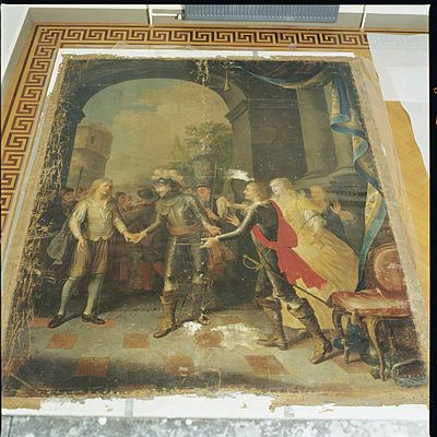 Interieur, schilderij voor restauratie in de oranjerie - Leersum - 20429343 - RCE