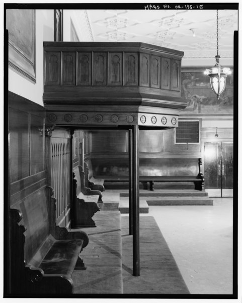 File interior ceremonial hall detail of south wall pulpit and benches looking west odd for Interior car detailing portland or