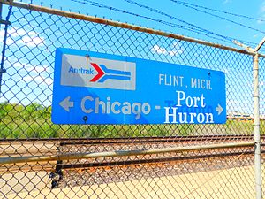 International (Amtrak train) - Signage at the Flint station denoting the current Blue Water destination and International Limited destination