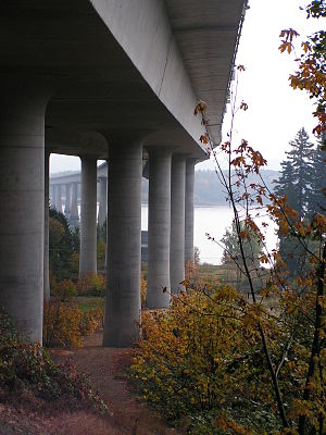 Interstate 205 (Oregon–Washington) - Beneath the I-205 bridge in Vancouver, looking toward Portland