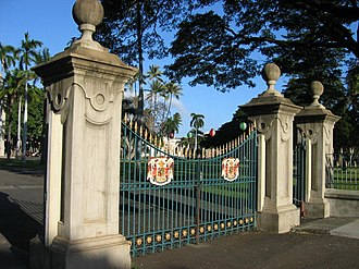 2008 occupation of Iolani Palace - Main gate of Iolani Palace