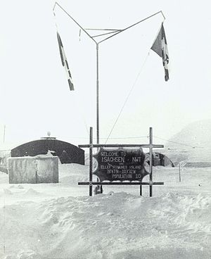 Gunnar Isachsen - Welcome sign at Canada's Isachsen research station, 1974