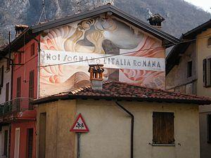 "Propaganda of Fascist Italy - Fascist slogan: ""We dream of a Roman Italy"""