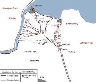 Operation Iskra - Soviet advance by 18 January