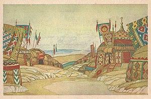 Prince Igor - Scene design by Ivan Bilibin (1930)