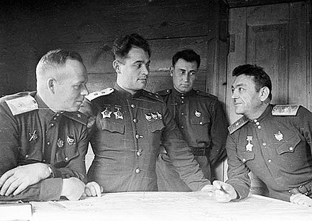 Ivan Chernyakhovsky and other members of his military council on the eve of the Battle of the Dnieper, 1943 Ivan Chernyakhovsky 2.jpg