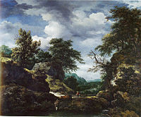 Jacob van Ruisdael - Hilly Wooded Landscape with Castle.jpg