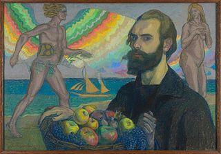 Autoportret z koszem owoców na tle morza