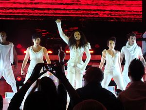 """Together Again (Janet Jackson song) - Jackson performing """"Together Again"""" as the final song of her Number Ones, Up Close and Personal tour (2011)."""
