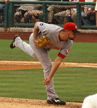 Jeremy Affeldt pitching for the Reds in 2008 Jeremy Affeldt followthrough 2.jpg