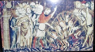 History of the Jews in Belgium - Jews being burned at the stake. Miniature from a 14th-century manuscript