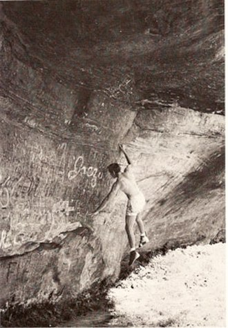 John Gill (climber) - John Gill, performing a dynamic move at Pennyrile Forest, KY in the mid-1960s.