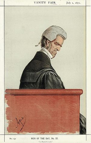 "John Shaw-Lefevre - ""La Reyne le veult"" Shaw-Lefevre as caricatured by Ape (Carlo Pellegrini) in Vanity Fair, July 1871"