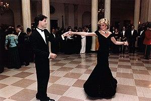 Travolta dress - John Travolta dancing with Diana, Princess of Wales, at the White House, November 9, 1985.
