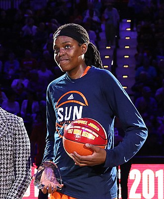 Jonquel Jones - Jonquel Jones accepts the award for 2017 WNBA Most Improved Player